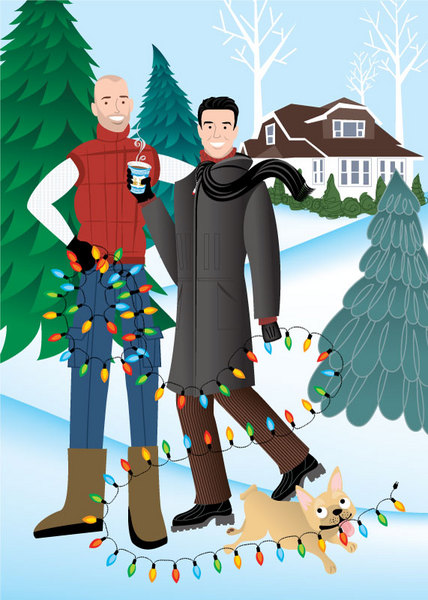 Here's the holiday version of Mark and Craig's portrait. The cards were custom printed by Handsome Devil Press.