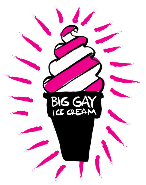 Big Gay Ice Cream glowing hand drawn version of the logo for a t-shirt.