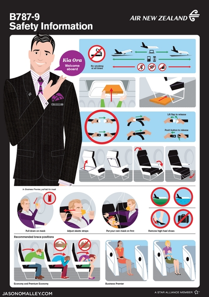 Safety card for Air New Zealand