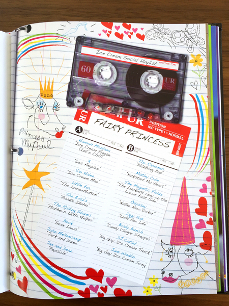 I had our photographer shoot loose leaf paper in a binder with a cassette and I added the doodles digitally. Detail of the Fairy Princess playlist.