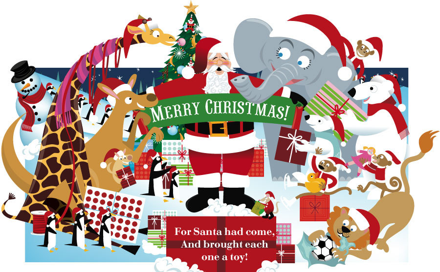 Christmas At The Zoo.Book Pop Ups For Kids Jason O Malley Illustration Design