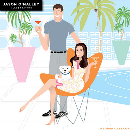 These clients asked for a chic Miami Beach themed portrait.