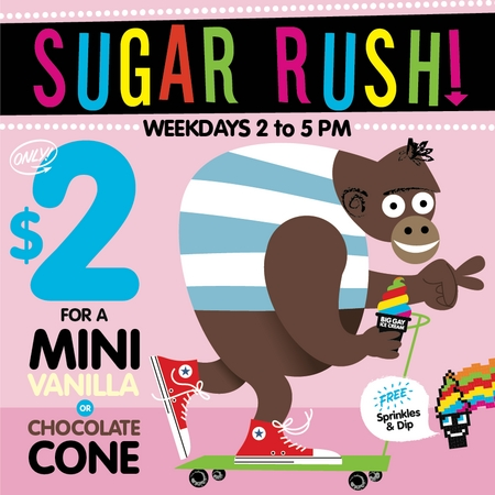 "Big Gay Ice Cream ""Sugar Rush"" promotion."