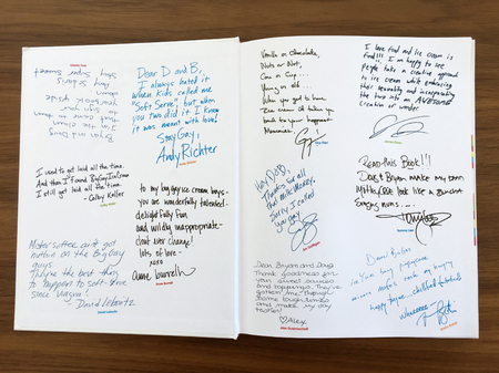 In keeping with the yearbook theme, the authors had a bunch of their celebrity pals send in handwritten messages that I put on the end pages.