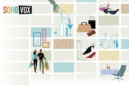 """Vox"" map of Soho for Food and Wine Magazine"